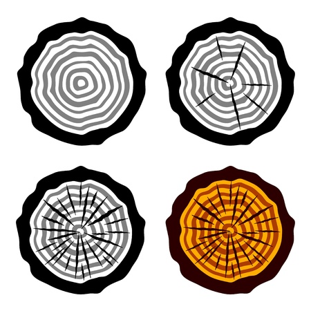 logging: vector growth rings tree trunk symbols