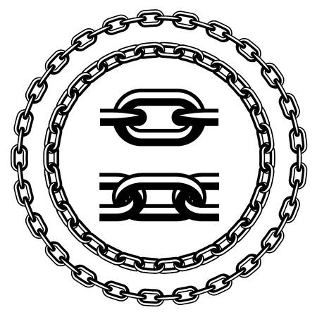 cadenas: cadena sin fisuras siluetas Vectores