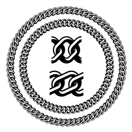 siluetas de cadena joya sin costura Ilustración de vector