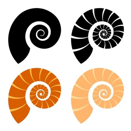caracol: shell silueta Vectores