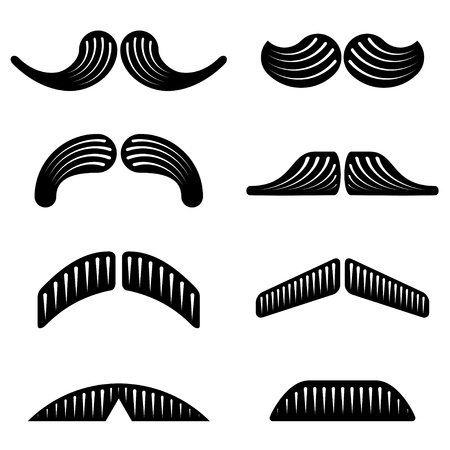 mustache black icons Vector