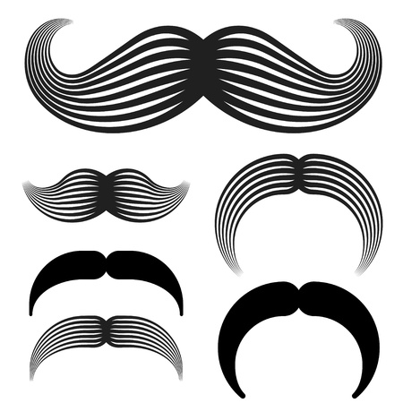 white trim: mustache vintage black icons