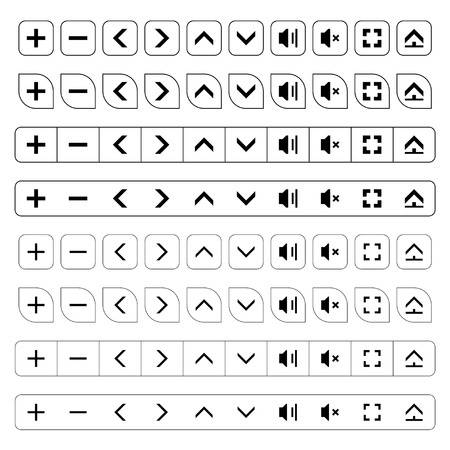 zoom in: navigation buttons black icons Illustration