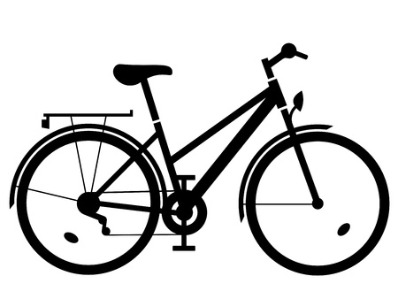 lady bike black silhouette Vector