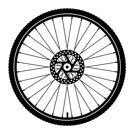 cyclist silhouette: vector bike wheel black silhouette
