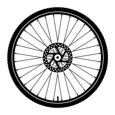 fahrradrennen: Vektor-Fahrrad-Rad schwarze Silhouette