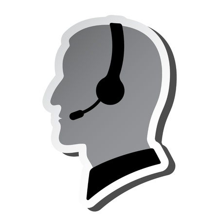 contact centre: call center person silhouette