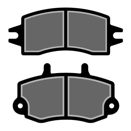 calzado de seguridad: pastillas de freno negro siluetas Vectores