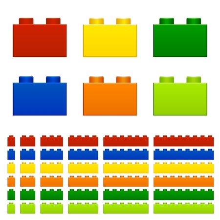 children plastic bricks toy Vector