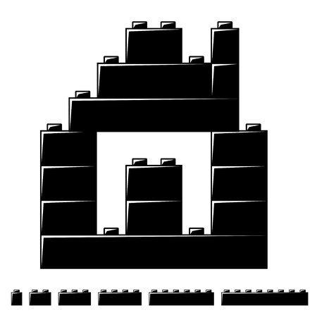plastic bricks: children plastic bricks toy house silhouette