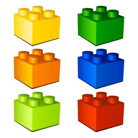 plastic bricks: 3d children plastic bricks toy Illustration