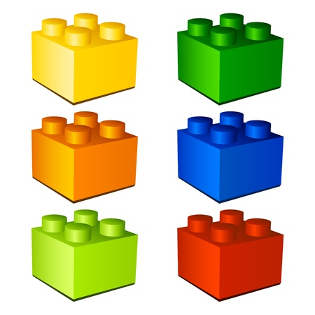 3d children plastic bricks toy Vettoriali