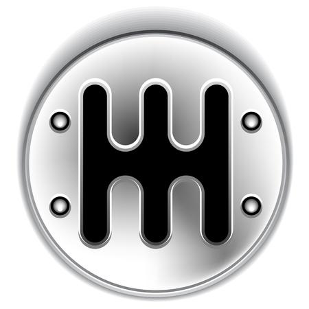 palanca de cambios: manual de palanca de cambios cromado Vectores