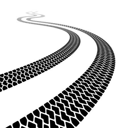 winding trace of the terrain tyres Vector