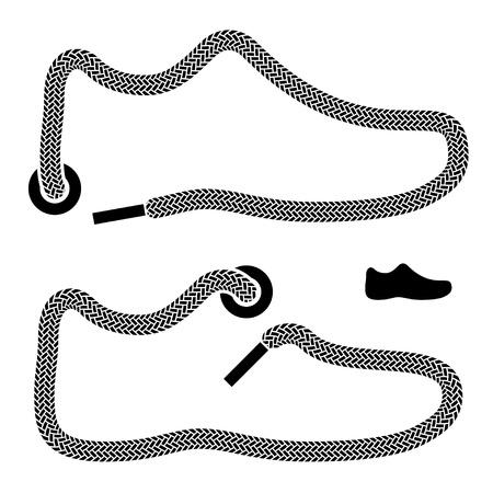zapato: cordones de zapatos s�mbolos Vectores
