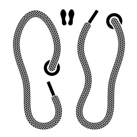 vector shoelace shoe print symbols Иллюстрация