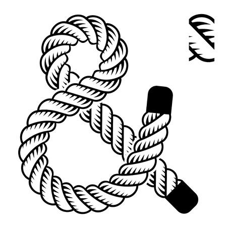 ampersand: black rope ampersand symbol