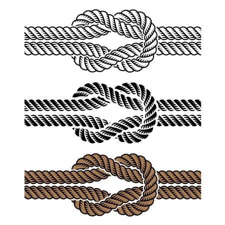 nudo: s�mbolos nudo de la cuerda negro Vectores