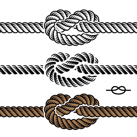 black rope knot symbols Vector