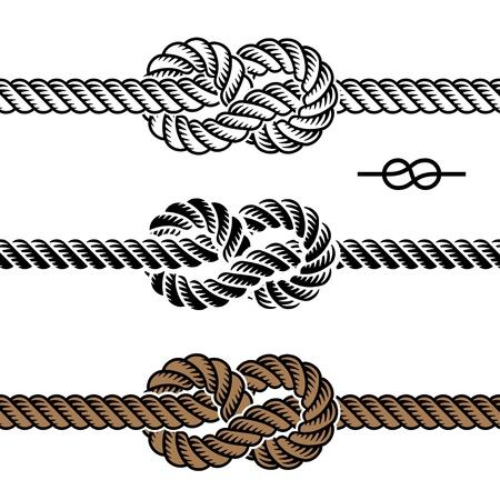 czarne symbole węzeł liny Ilustracje wektorowe