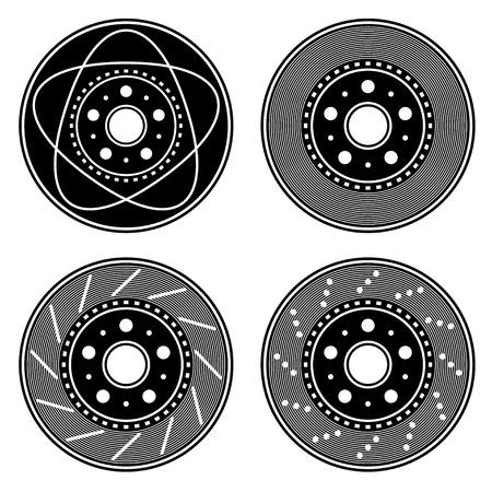 vector brake disc black symbols Stock Vector - 16161623