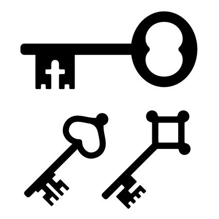 antique key: vector medieval key symbols