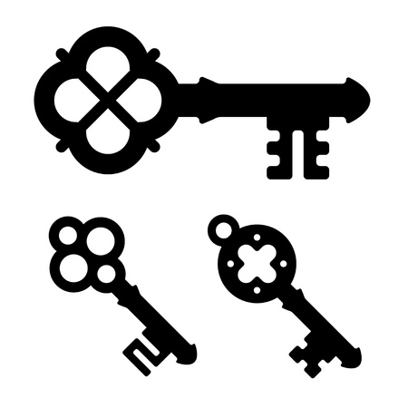 obsolete: vector medieval key symbols