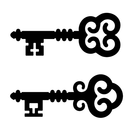 antique keys: vector medieval key symbols