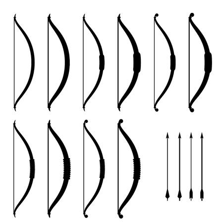 оружие: вектор средневековой лук оружием черными символами Иллюстрация