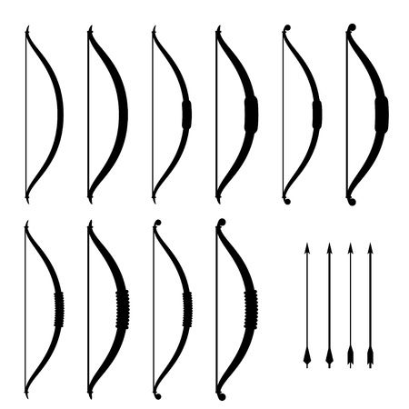 arco y flecha: vector medievales arco arma negra símbolos
