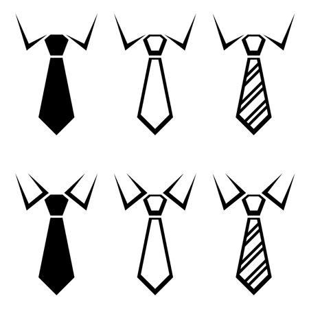 white collars: tie black symbols