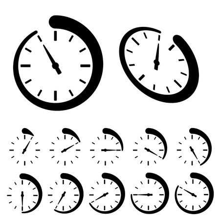 vector round black timer icons Vettoriali
