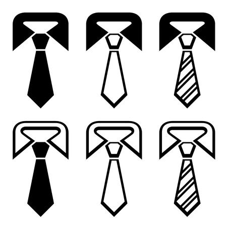stropdas: vector binden zwarte symbolen Stock Illustratie