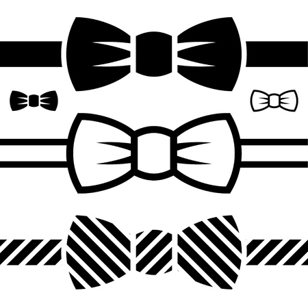 noeud papillon: vecteur Bow Tie symboles noirs Illustration