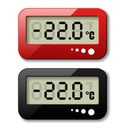 digital thermometer: vector digital thermometer icons