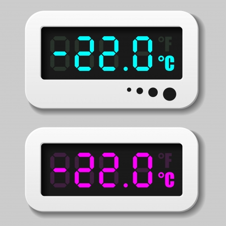 celsius: glowing digital thermometer icons
