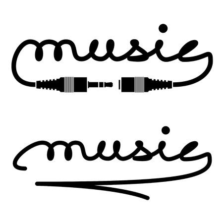 vector jack connectoren muziek kalligrafie