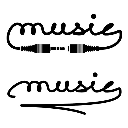 audio plug: vector jack connectors music calligraphy