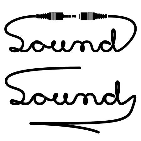 audifonos: conectores jack caligraf�a sonido Vectores