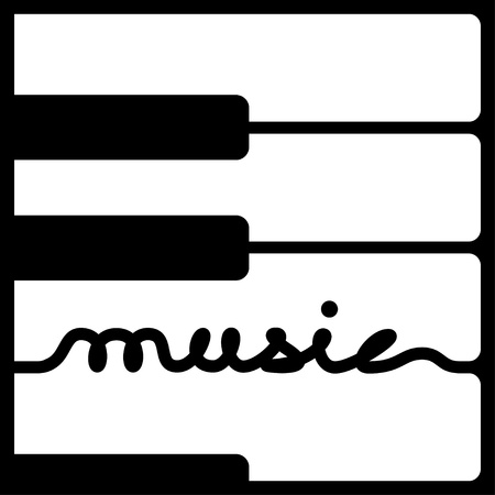 keyboard instrument: piano keys music calligraphy