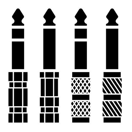 Audio-Klinkenstecker schwarze Symbole