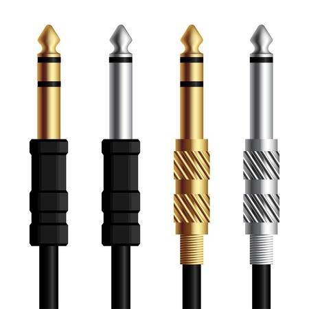 equipo de sonido: audio jack conector de oro y plata Vectores