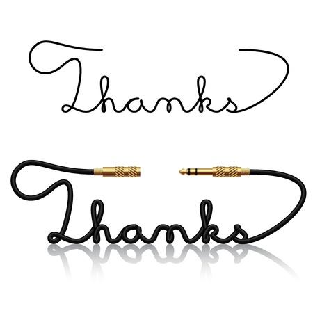 te negro: conectores jack gracias caligrafía