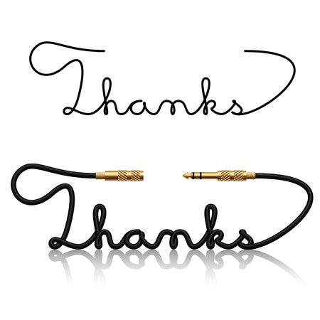 thanks you: jack connectors thanks calligraphy