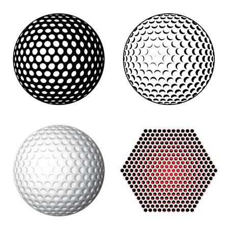 pelota de golf: símbolos de pelota de golf Vectores