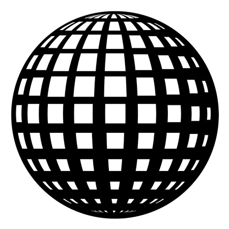 wire globe: globe black symbol Illustration
