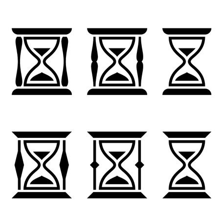 hour glass:  sand glass black symbols Illustration