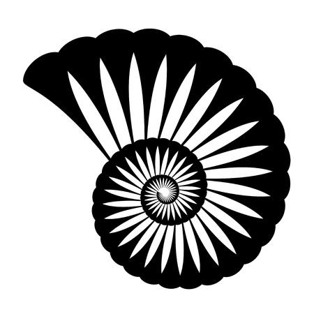 espiral: shell silueta Vectores