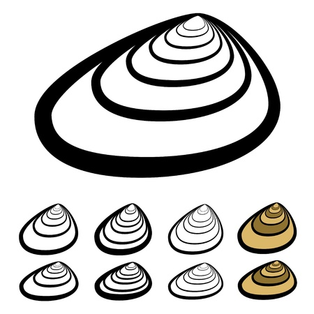 clam illustration:  clam shell silhouettes