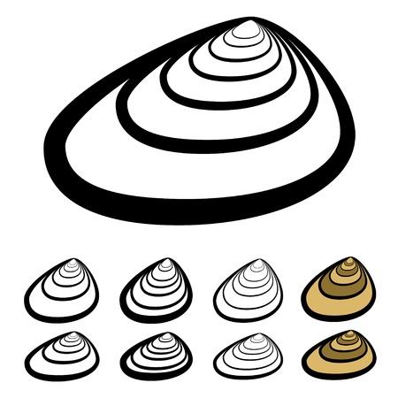 almeja: clam shell siluetas